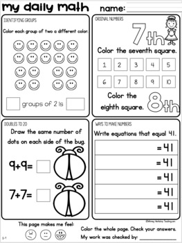 Daily Math Review Worksheets or Task Cards: Grade One Bundle for the Entire Year