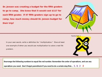 Daily Math Review - first 6 weeks of fifth grade math Texas TEKS -
