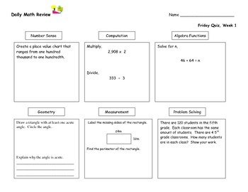 Daily Math Review (Nine Weeks)