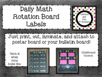 Daily Math Rotations~Chalkboard Style