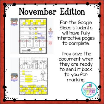Daily Math Skills {November Morning Work}