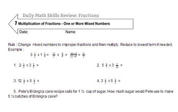 Daily Math Skills Review : Fractions with Word Problems