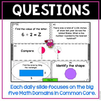 February Daily Math Spiral 3rd Grade - Common Core, No Prep