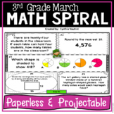 March Daily Math Spiral for 3rd Grade - Common Core, No Prep