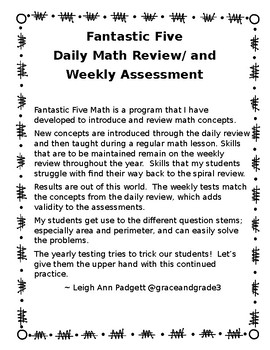 NEW!  Daily Math Spiral-1ST Quarter Fantastic Five Weekly Review AND Weekly Test