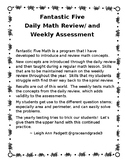 NEW!  Daily Math Spiral-1ST Quarter Fantastic Five Weekly