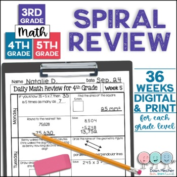 Daily Math Spiral Review - 3rd, 4th, & 5th Grade Bundle