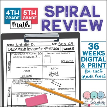 4th and 5th Grade Morning Work   4th and 5th Grade Spiral Math Review   No Prep