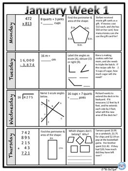 Daily Math Spiral Review for 5th grade - January