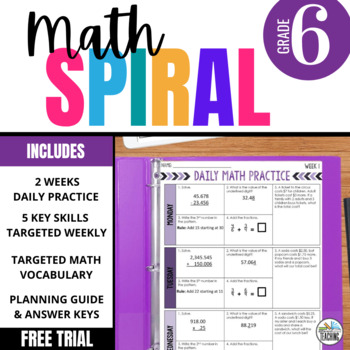 Daily Math Spiral for 6th Grade: FREE SAMPLE