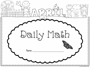 Daily Math Student Covers in B/W Line Art for Each Month