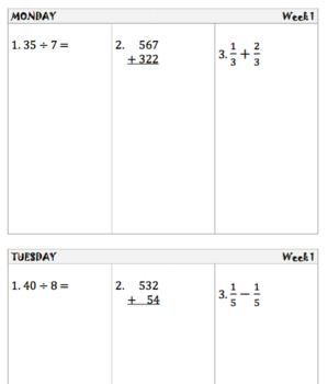 Daily Math Warm-Up – 34 Weeks
