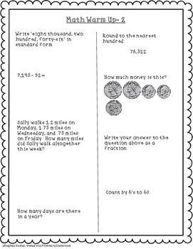 Upper Elementary Math Warm Up's