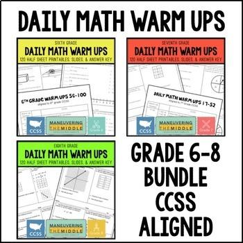 Common Core Math Daily Warm Ups {6-8 Grade Bundle}