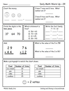 Math For Second Grade First Trimester By Shelly Sitz Tpt