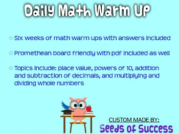 Daily Math Warm Ups, Morning Work- Promethean File