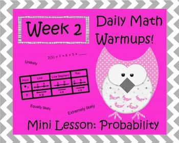 Daily Math Warm Ups Wks 1 & 2 Probability