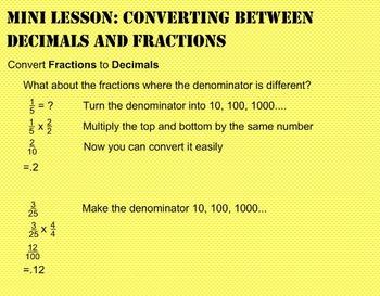 Daily Math Warm Ups Week 10: Decimal/Fraction Conversions