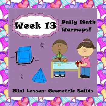 Daily Math Warm Ups Week 13 Geometric Solids