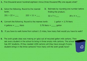 Daily Math Warm Ups Week 16 Converting Measurements