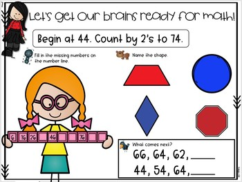 Daily Math Warm Ups for First Grade February