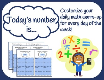 Daily Math Warm-up - Today's Number - Fillable & Editable
