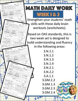 Daily Math Week 1 & 2 (Third Grade)