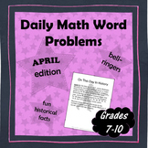 Daily Math Word Problems (Bell ringers) for APRIL
