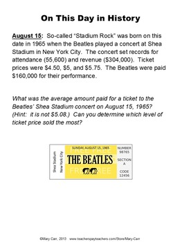 Daily Math Word Problems (Bell ringers) for AUGUST