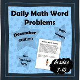 Daily Math Word Problems (Bell ringers) for DECEMBER