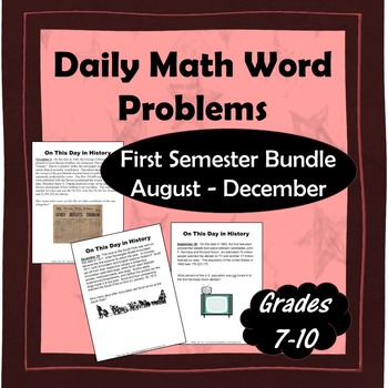 Daily Math Word Problems Bell Ringers For First Semester