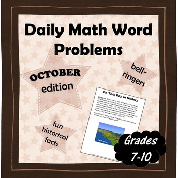 Daily Math Word Problems (Bell ringers) for OCTOBER