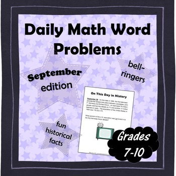Daily Math Word Problems (Bell ringers) for SEPTEMBER