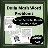 Daily Math Word Problems (Bell ringers) for Second Semester