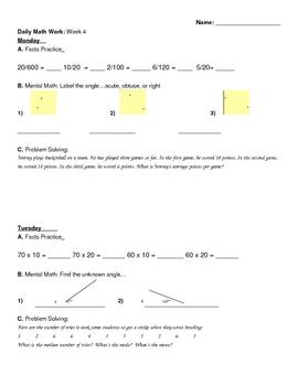 Daily Math Work