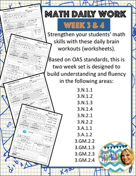 Daily Math Work Weeks 3 & 4 (Third Grade)
