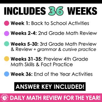 3rd Grade Morning Work, Homework, Spiral Review Math Bundle