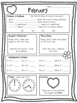 Daily Math and Language: February