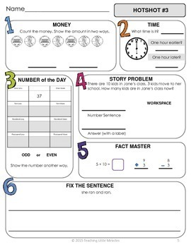 1st Grade Daily Math and Language Hot Topics Review - 1st 9 Weeks