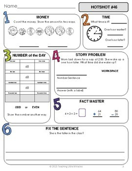 1st Grade Daily Math and Language Hot Topics Review - 2nd Nine Weeks
