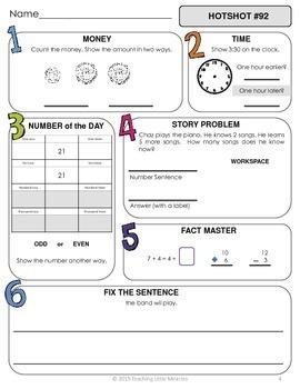 1st Grade Daily Math and Language Hot Topics Review BUNDLE