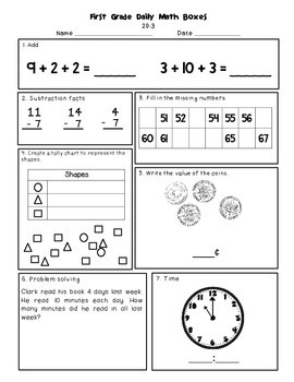 Daily Math and Language Practice for First Graders: Set 3