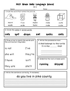 Daily Math and Language Practice for First Graders: Set 2