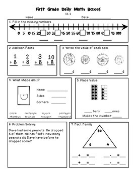 Daily Math and Language Practice for First Graders: Set 2 ...
