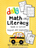 Daily Math and Literacy Back to School {August and September} Morning Work