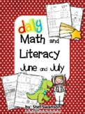 Daily Math and Literacy Kindergarten Summer Review {June and July} Morning Work