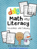 Daily Math and Literacy Winter {December and January} Morning Work