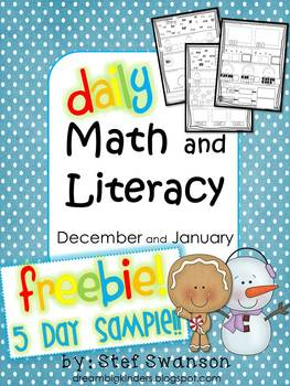 Daily Math and Literacy Winter {December and January} FREEBIE! 5 day Sample