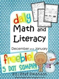 Daily Math and Literacy Winter {December and January} FREE