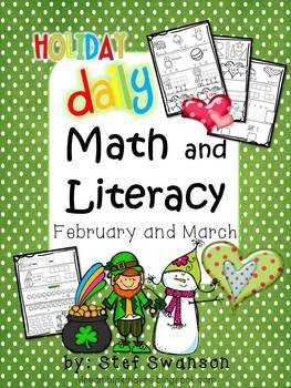 Daily Math and Literacy Winter {February and March} Morning Work Holiday ClipArt